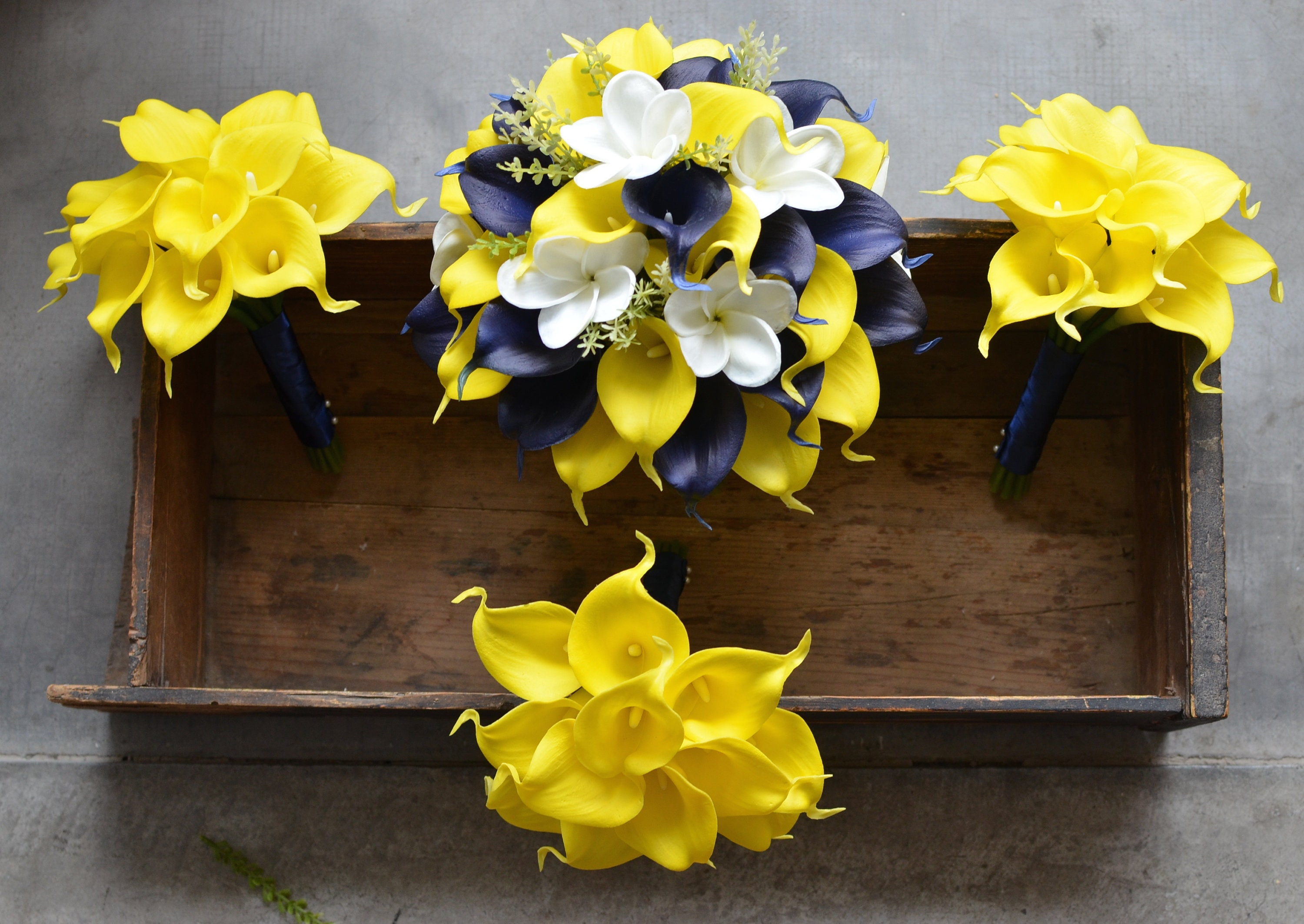 Navy Yellow Wedding Bouquets Real Touch Callas Lilies Etsy