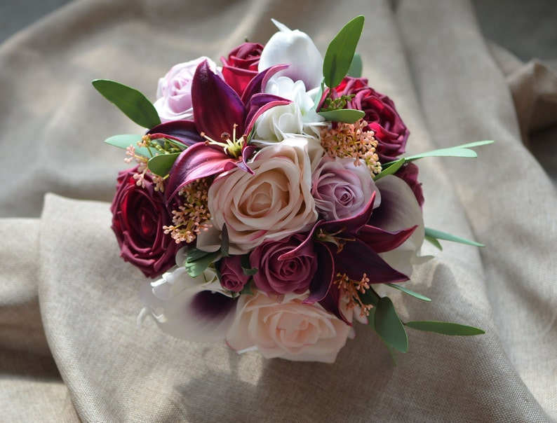 Burgundy Plum Bridesmaids Bouquets Real Touch Roses Eucalyptus Calla Lilies Tiger Lilies Autumn Bouquets
