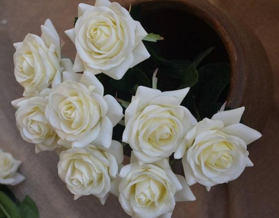 Ivory cream roses real touch flowers silk roses diy wedding etsy image 0 mightylinksfo