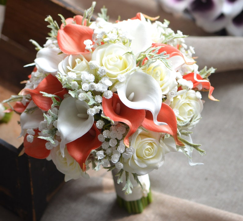 Rustic Wedding Bouquets Coral Ivory Real Touch Flowers Calla lilies Roses Dusty Millers baby/'s breath malaysia Wedding Package