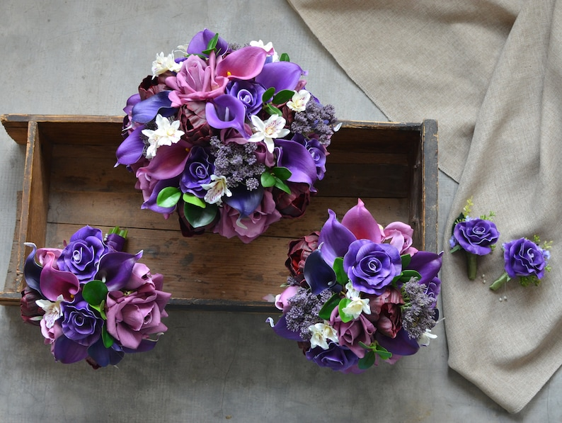 Burgundy Peonies Purple Bridal Bouquets Package Roses Real Touch Purple Callas Wedding Bouquets Package