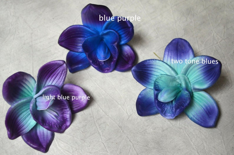 Blue Purple Orchid Blooms Cake Toppers Decoration Flowers Etsy