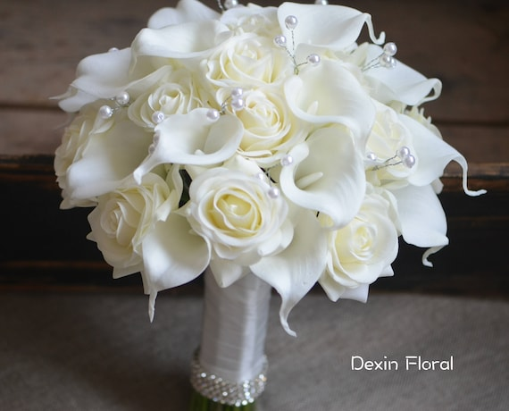 Ivory Bridal Bouquets Real Touch Roses Calla Lilies Wedding Etsy