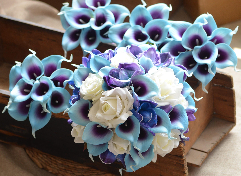 Blue purple orchids calla lilies bridal bouquets off white etsy zoom izmirmasajfo