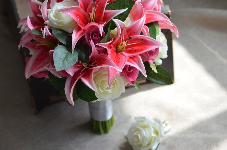 Hot Pink Lilies Roses Bridal Bouquets Real Touch Flowers Groom Boutonniere