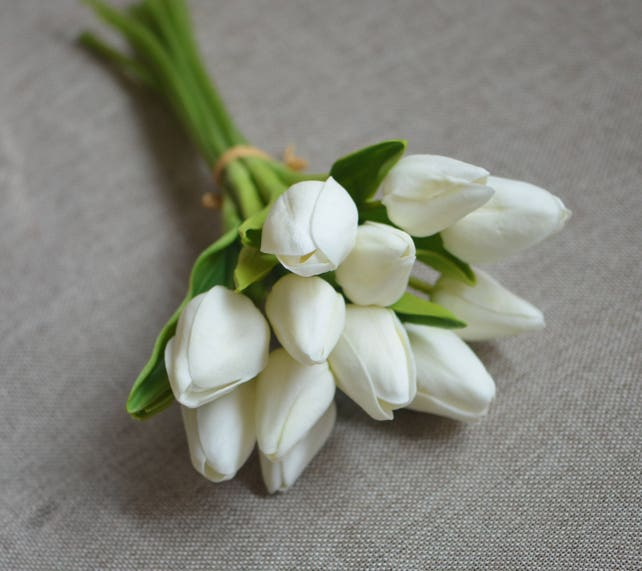 Ivory Mini Tulips Real Touch Flowers Diy Silk Bridal Bouquets