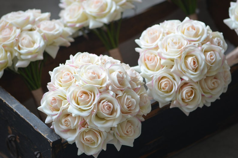 Blush Ivory Bridesmaids Bouquets Real Touch Roses Wedding Bouquets Real Touch Flowers Bouquets