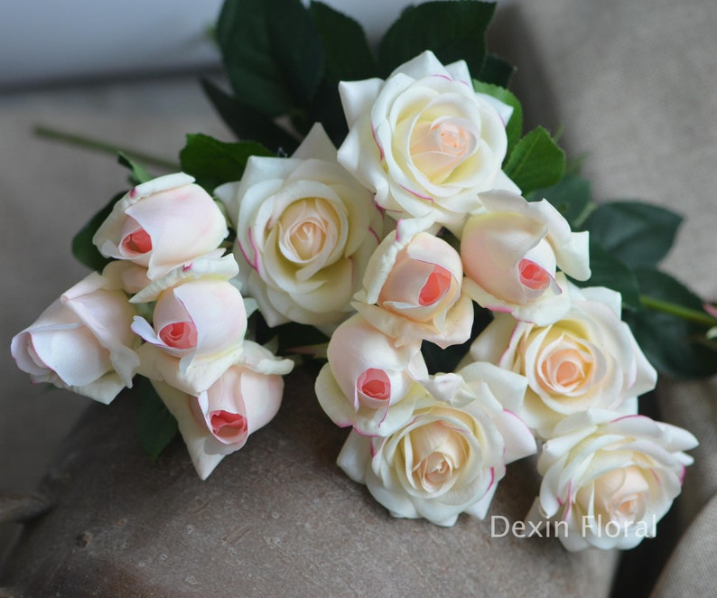 Real Touch Light Blush Roses Buds Silk Roses DIY Wedding Flowers Silk Bridal Bouquets Wedding Centerpieces