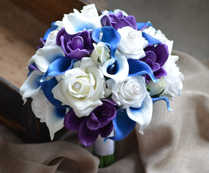 Royal Blue Purple Bridal Bouquet Real Touch Flowers Calla Lily Etsy