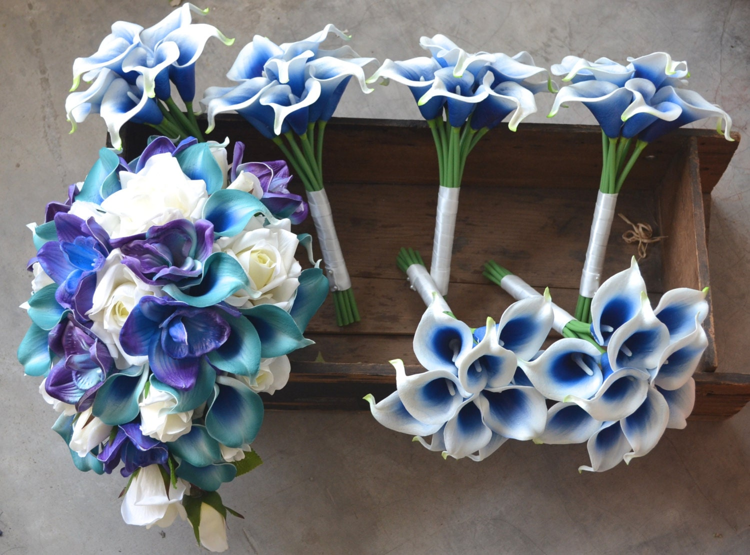 Wedding package teal royal blue purple cascade bridal bouquet etsy wedding package teal royal blue purple cascade bridal bouquet real touch flowers calla lily ivory roses blue purple orchids izmirmasajfo