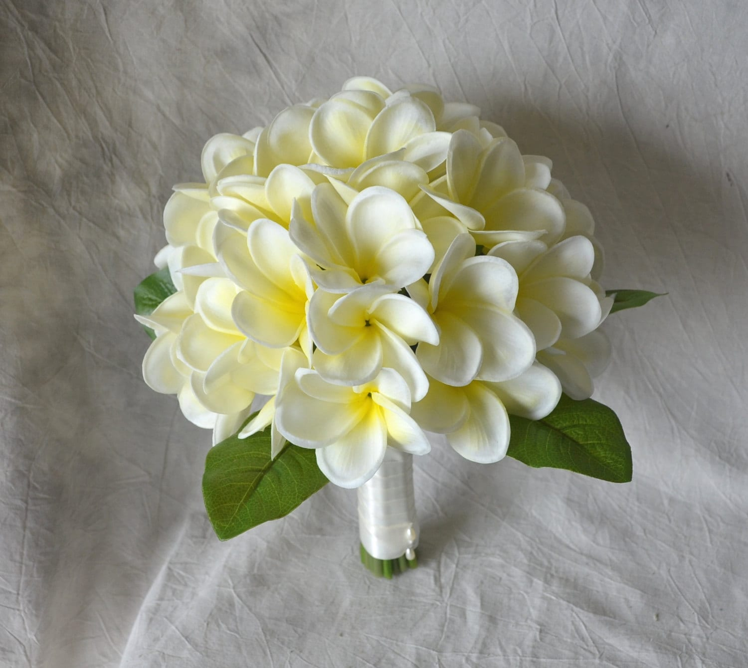 Real Touch Tropical Plumeria Bouquet Ivory Yellow Center Etsy