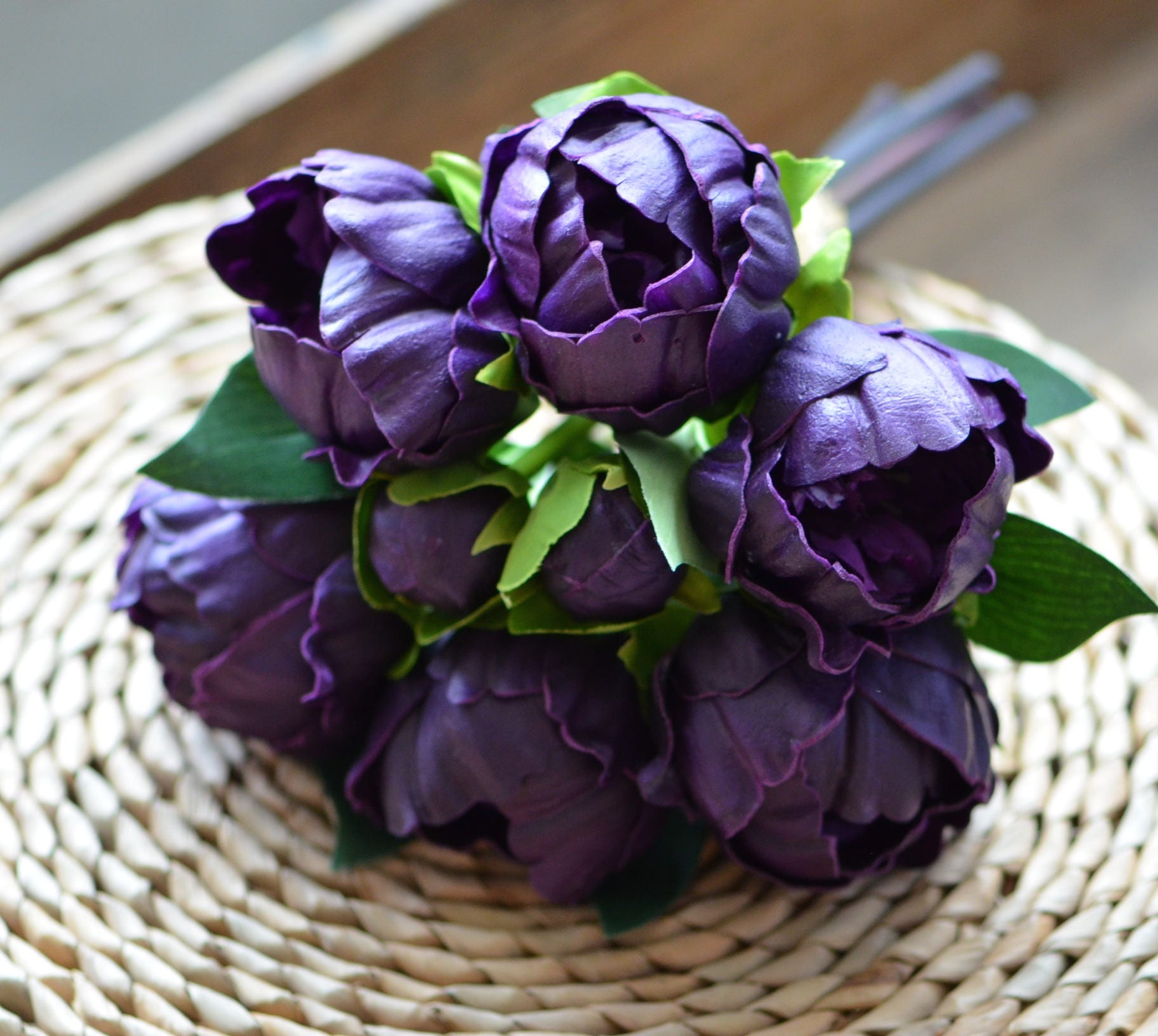 Eggplant Plum Purple Peonies Real Touch Peonies Bunch Diy Silk Etsy