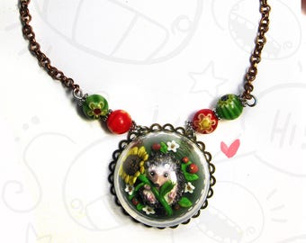 Hedgehog Glass Necklace
