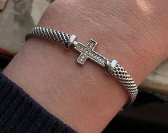 Italian Sterling Silver Cross Bracelet