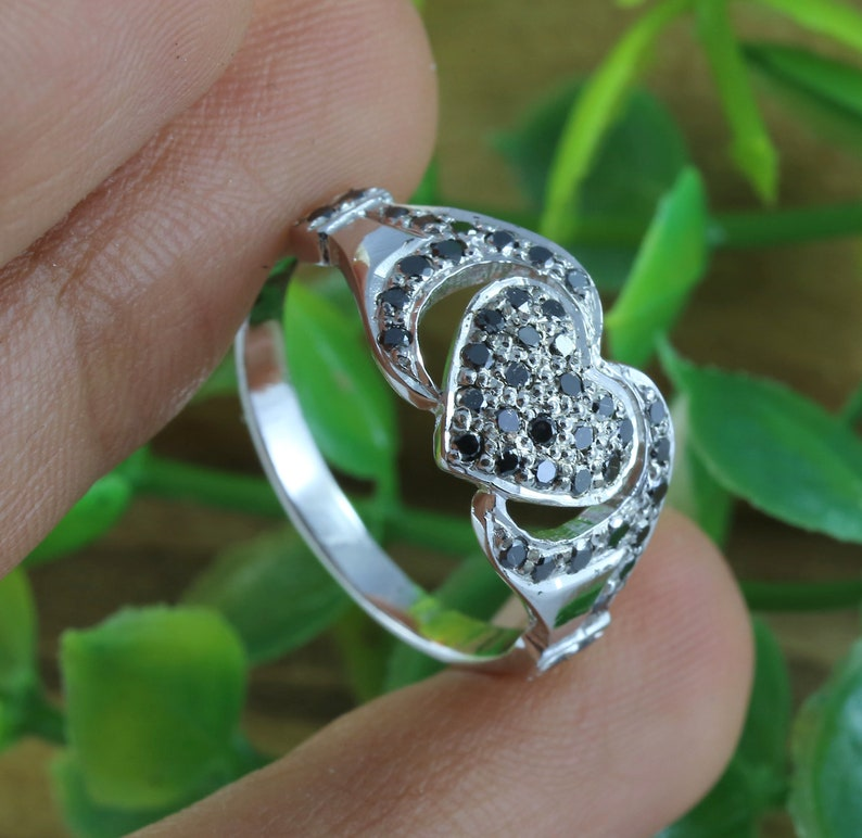 Natural Black Round Diamond Silver Ring Engagement Wedding 925 Sterling Ring KD123
