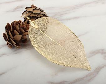 Real Natural Leaf Pendant, 18K Leaf Necklace Jewelry (Large)