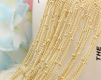 1.5MM 16 Inch Wholesale 12PCS Gold Plated Solid Brass Satellite Beaded Ball Curb Thin Chain Necklace for Jewelry Making 16-30 Inches