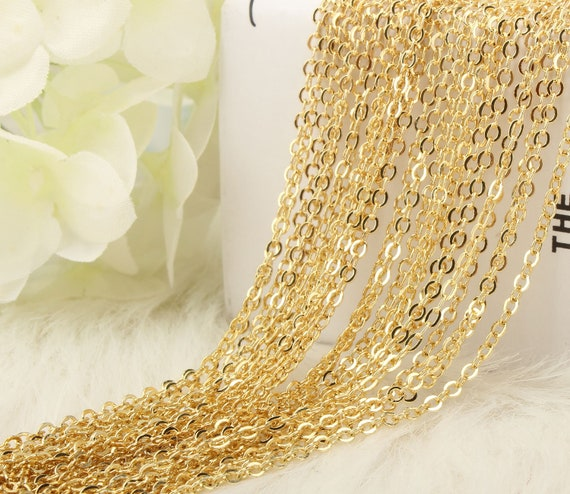18 Wholesale 12PCS Antique Copper Plated Brass Flat Cable Chains Bulk for Jewelry Making 18-30 Inches 1.5MM