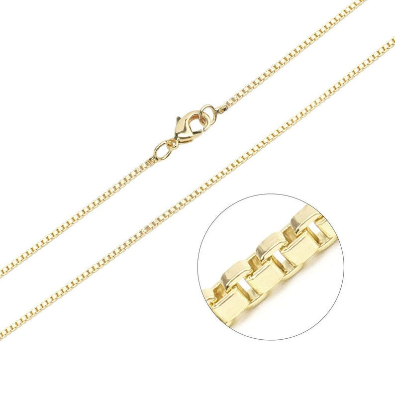 b386a89015ac0 Wholesale 12 PCS Gold Plated Brass Finished Thin Box Chain Necklace  Bulk,16-20 inch(1.5MM)