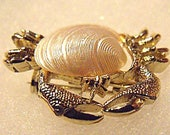 Seashell Jewelry - Gold Tone Crab Brooch with Shell Body and Crystal Rhinestones - Unsigned Small Crab Pin Beach Wedding Accessory