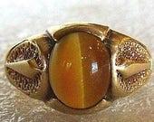 10K Cat Eye Ring for Men  - Tigers Eye Ring for Men in 10K Yellow Gold, Art Deco Style -  Size 8, 2.5 carat Cat Eye Gem