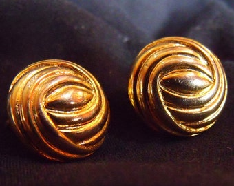 Vintage Unsigned Clip on Earring - Textured Classic Button Style Clipons - 1960's Gold Plated Jewelry