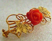 Carved Coral Brooch - Art Nouveau Floral 10K Yellow Gold Pin with a 7mm Carved Coral Rose - Turn of the Century Gold Brooch