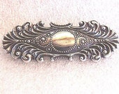 Art Nouveau Silver Brooch - Stylish Silver Pin in Classic Curved Lines of the Art Nouveau Style - Unmarked Silver Scroll Bar Pin