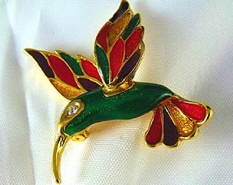 Colorful Enamel Hummingbird Brooch