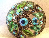 """Signed Weiss Brooch - 1960's Blue Green Round Dome 2"""" Pin - Vintage Weiss Rhinestone Jewelry - Mid Century Costume Jewelry"""