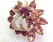 Eisenberg Ice - 1950's Swarovski Crystal and Lavender Brooch - Mid Century Rhinestone Costume Jewelry