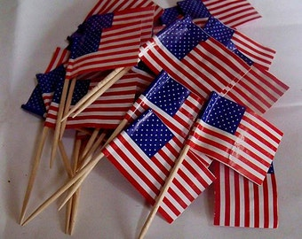 c65c079ef58f Toothpick Flags - Lot of 25 USA Cake Topper American Flags for Patriotic  Theme Parties - Memorial Day and 4th of July Decorating Supplies
