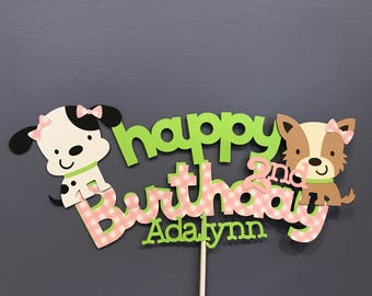 Happy Birthday Girl Puppy Cake Topper with name and age