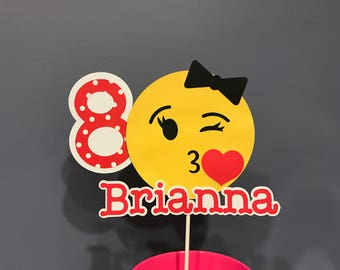 Girl Emoji Cake Topper with name and age