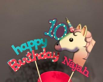 Unicorn Emoji 2 piece Centerpiece with name and age