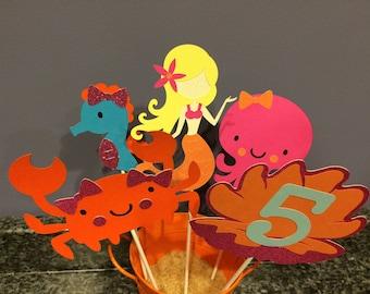 Five Piece Mermaid and Sea Creature Centerpiece