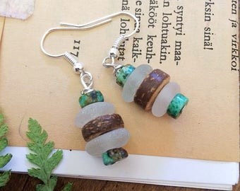 Stacked Seaglass and Turquoise earrings. Primitive Seaglass and wood earrings