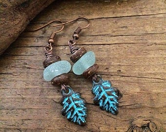 English sea glass earrings, stacked seaglass beads, copper patina leaf earrings.