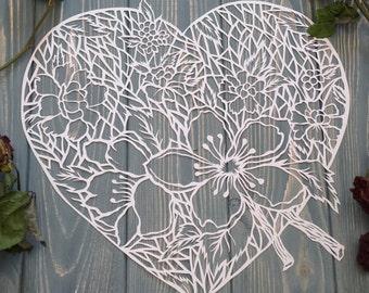 "Paper cut art work, paper art ""Blossom heart"" original paper cutting in nude white color, art silhouette by Eugenia Zoloto , 2016"