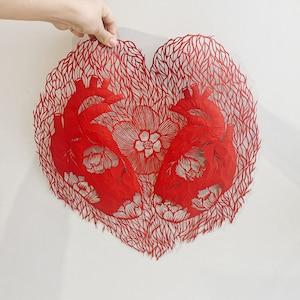 hand cut paper art \u201c Anatomical heart \u201c original paper cutting in red color art silhouette by Eugenia Zoloto Paper cut artwork