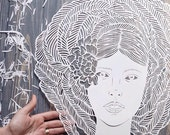 "Art Paper Cutting "" Maze"" Large Papercut, Original Paper Cut Artwork Floral Hair Girls Silhouette, 2017"