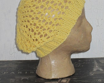 Slouch Beanie, Slouch Hat, Mesh Slouch Beanie, Women's Hat, Cotton Slouch Beanie, Cotton Hat, Yellow Slouch Beanie, Boho Slouch Beanie