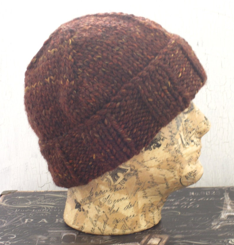 081ae8ac2bb645 Men's Knit Hat Chunky Ribbed Hat Brown Tweed Beanie | Etsy
