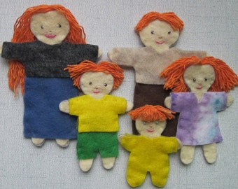 Felt Play Family for a young child's imaginative play -- felt doll set -- kids toys