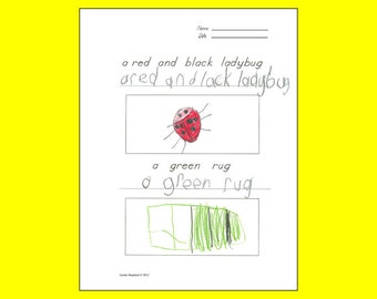 Copy and Draw printable work pages -- copywork and drawing printables -- fun penmanship and drawing activity for kids
