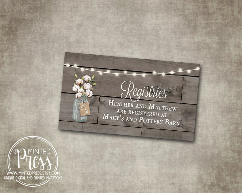 Etsy Wedding Registry.Wedding Registry Insert Mason Jar Cotton Rustic Brown Gray Wood String Lights Country Barn Digital File Or Printed I Customize For You