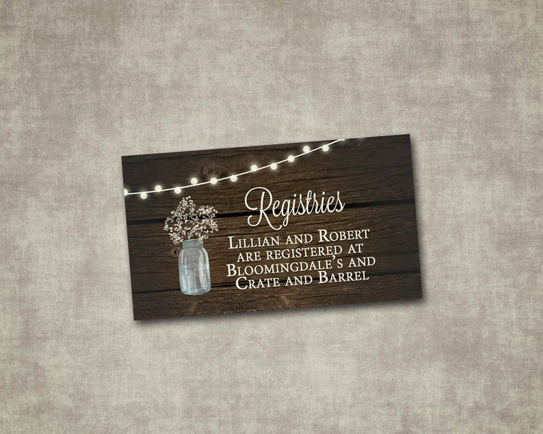 Etsy Wedding Registry.Wedding Registry Insert Mason Jar Baby S Breath Rustic Brown Wood String Lights Country Barn Digital File Or Printed I Customize For You