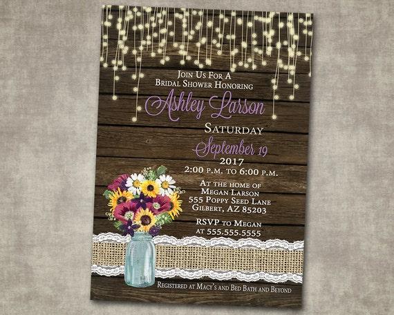 9aca19ac9371 Bridal Shower Invitation Fall Floral Sunflower Mason Jar