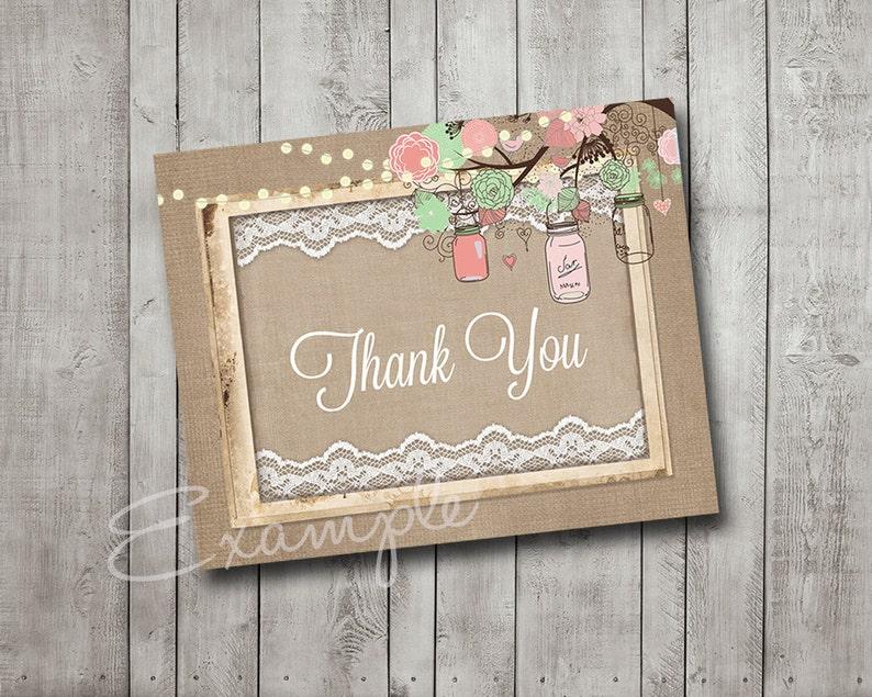 bridal shower thank you card mason jar tree branch pink