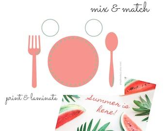 Watermelon Printable Placemat for Kids, Practical Life Preschool Place Setting Kids Educational Placemat, DIGITAL DOWNLOAD